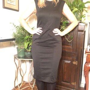 Asos black ribbed dress faux shoulder pads